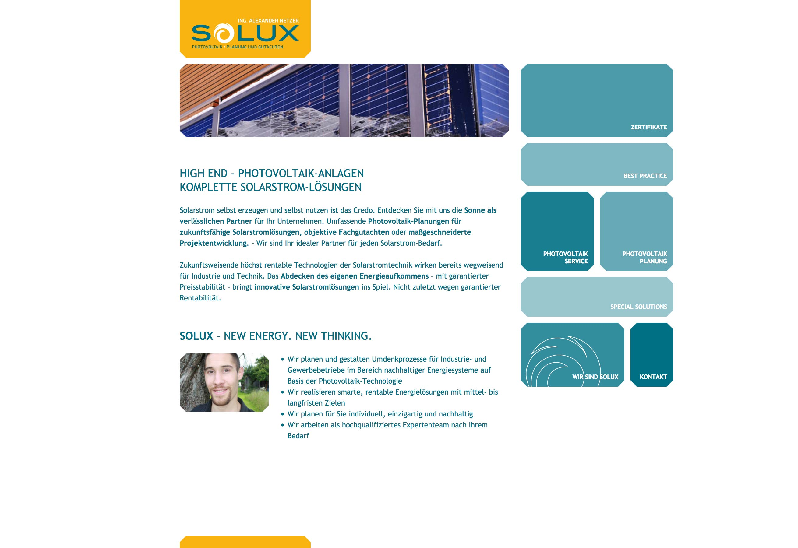 Website SOLUX Photovoltaik