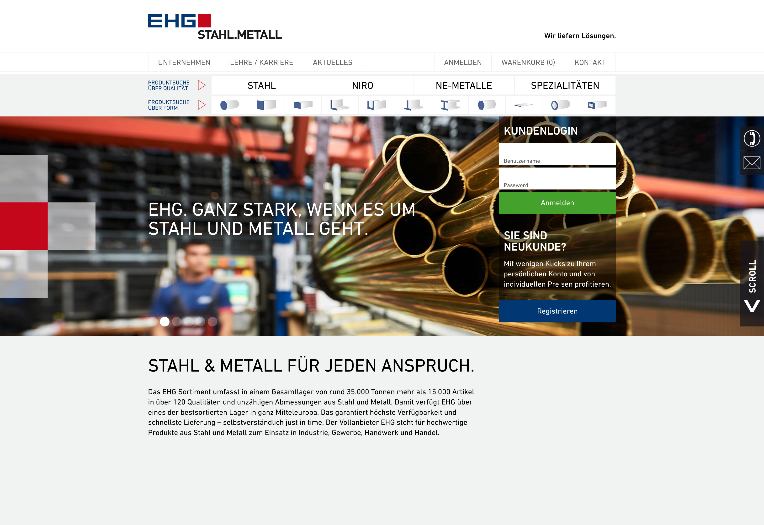 Website EHG Stahl.Metall